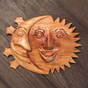 Hand Carved Wooden Sun & Moon Plaque Wall Hanging
